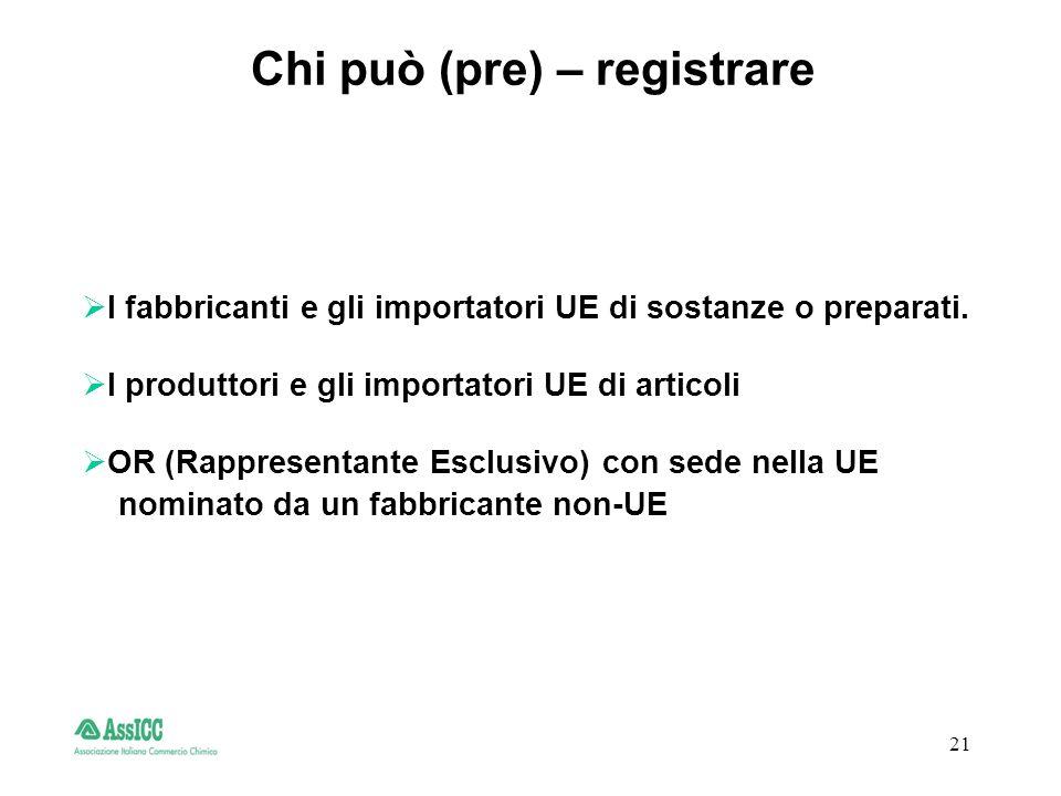 21 Chi può (pre) – registrare I fabbricanti e gli importatori UE di sostanze o preparati.