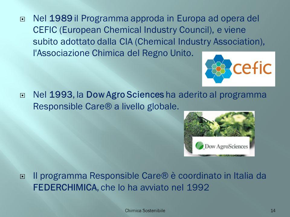 Nel 1989 il Programma approda in Europa ad opera del CEFIC (European Chemical Industry Council), e viene subito adottato dalla CIA (Chemical Industry Association), l Associazione Chimica del Regno Unito.
