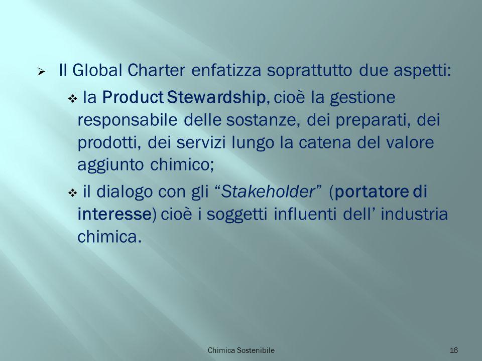 Il Global Charter enfatizza soprattutto due aspetti: la Product Stewardship, cioè la gestione responsabile delle sostanze, dei preparati, dei prodotti, dei servizi lungo la catena del valore aggiunto chimico; il dialogo con gli Stakeholder (portatore di interesse) cioè i soggetti influenti dell industria chimica.
