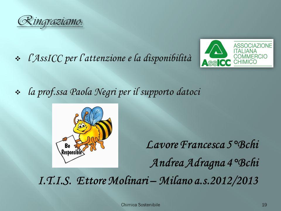 lAssICC per lattenzione e la disponibilità la prof.ssa Paola Negri per il supporto datoci Lavore Francesca 5°Bchi Andrea Adragna 4°Bchi I.T.I.S.