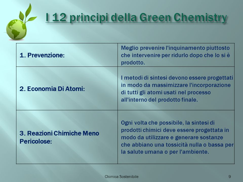 9 1. Prevenzione: Meglio prevenire l'inquinamento piuttosto che intervenire per ridurlo dopo che lo si è prodotto. 2. Economia Di Atomi: I metodi di s