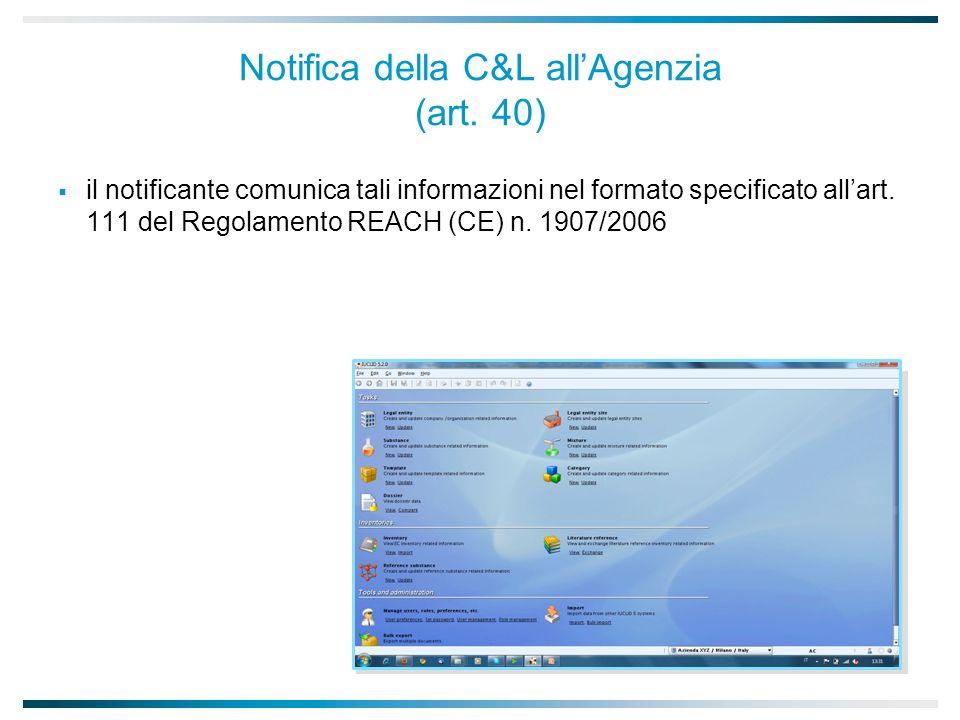 Notifica della C&L allAgenzia (art.