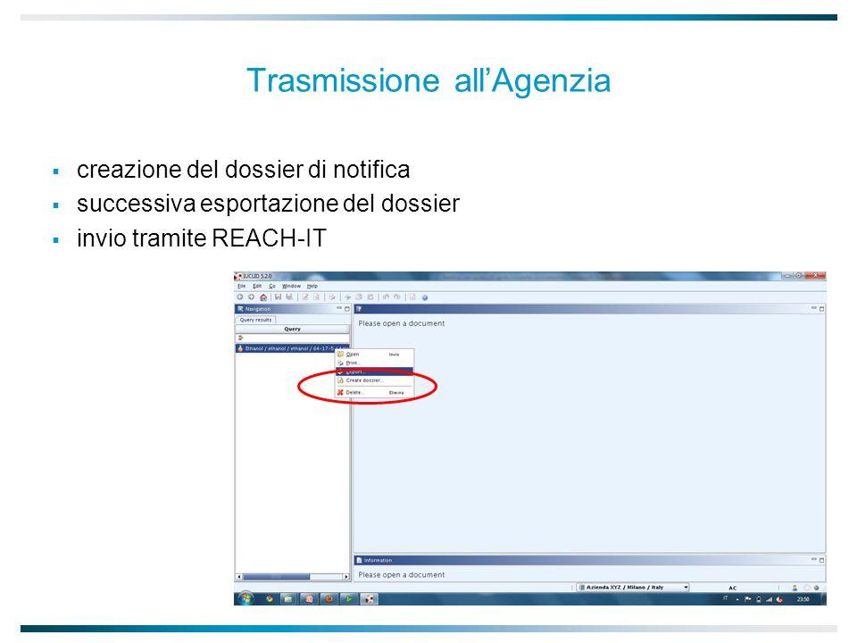 Trasmissione allAgenzia creazione del dossier di notifica successiva esportazione del dossier invio tramite REACH-IT