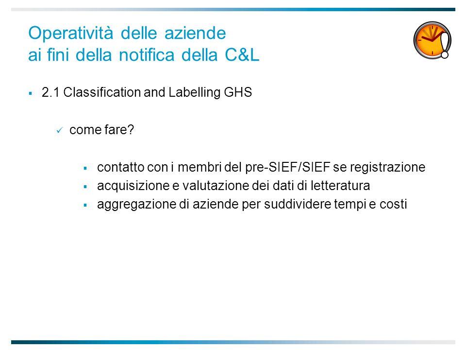 Operatività delle aziende ai fini della notifica della C&L 2.1 Classification and Labelling GHS come fare.