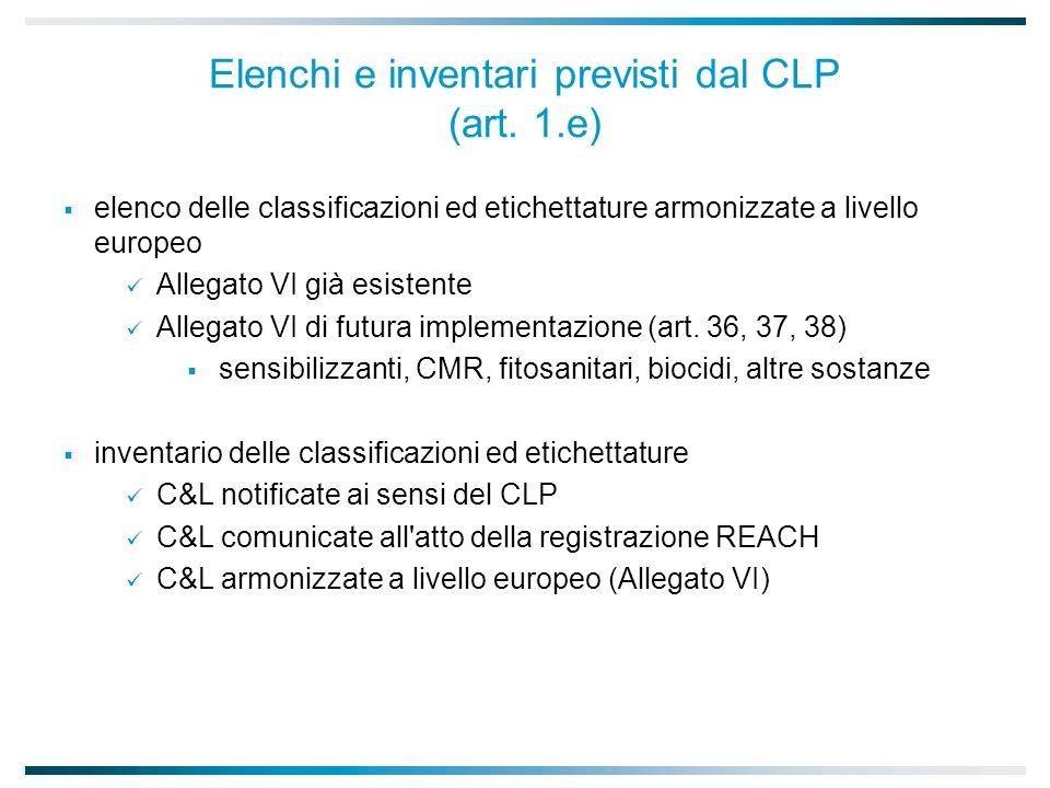 Elenchi e inventari previsti dal CLP (art.
