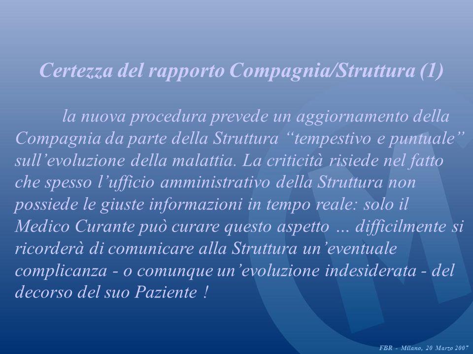 Certezza del rapporto Compagnia/Struttura (1) la nuova procedura prevede un aggiornamento della Compagnia da parte della Struttura tempestivo e puntuale sullevoluzione della malattia.