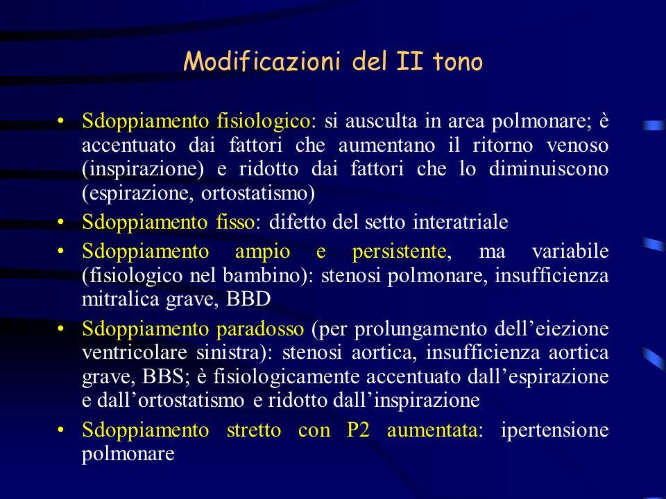 Modificazioni del II tono Sdoppiamento fisiologico: si ausculta in area polmonare; è accentuato dai fattori che aumentano il ritorno venoso (inspirazi