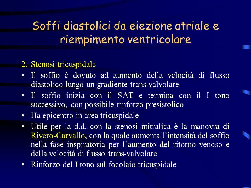 Soffi diastolici da eiezione atriale e riempimento ventricolare 2.Stenosi tricuspidale Il soffio è dovuto ad aumento della velocità di flusso diastoli