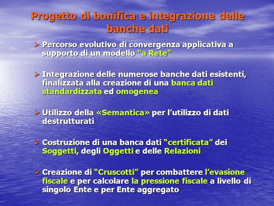 Progetto di bonifica e integrazione delle banche dati Percorso evolutivo di convergenza applicativa a supporto di un modello a Rete Percorso evolutivo