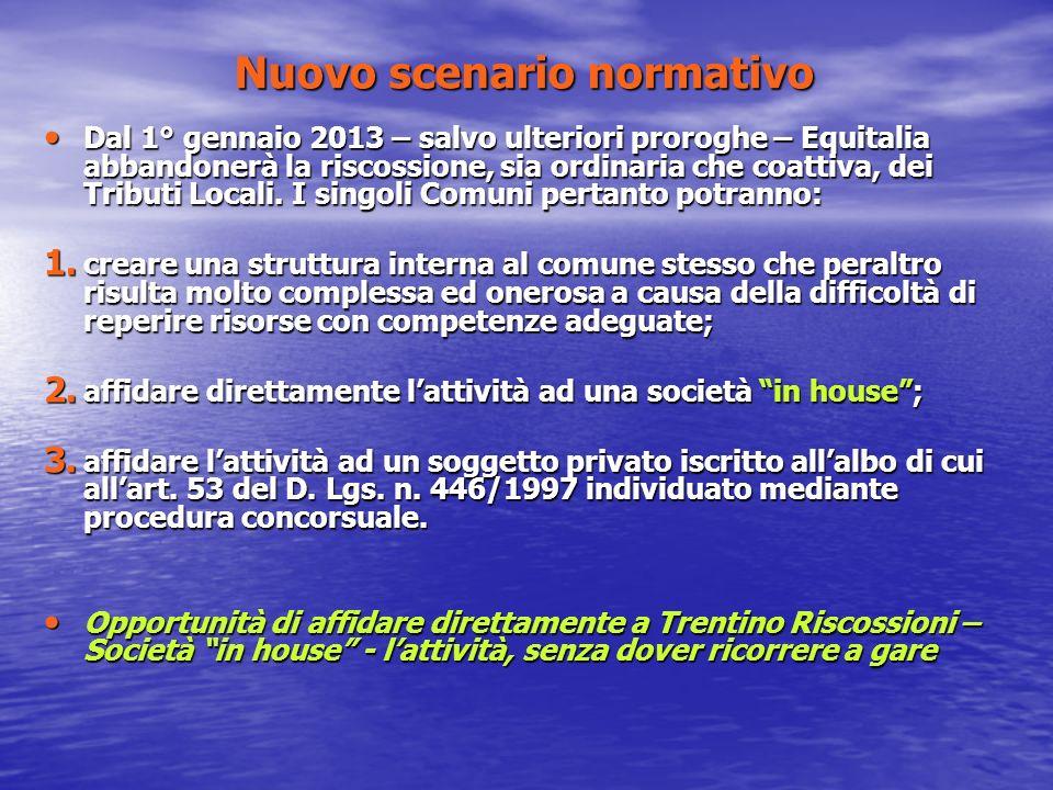 Nuovo scenario normativo Dal 1° gennaio 2013 – salvo ulteriori proroghe – Equitalia abbandonerà la riscossione, sia ordinaria che coattiva, dei Tributi Locali.