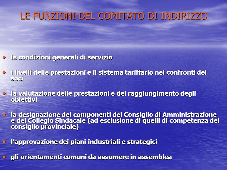 LE FUNZIONI DEL COMITATO DI INDIRIZZO le condizioni generali di servizio le condizioni generali di servizio i livelli delle prestazioni e il sistema t