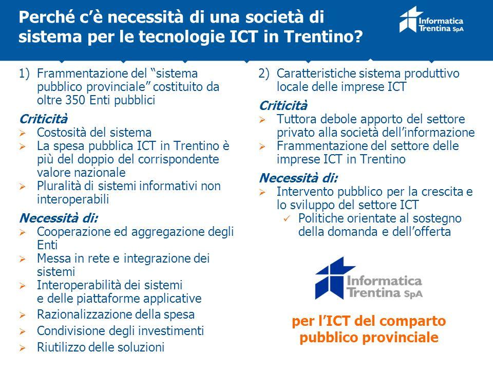 Perché cè necessità di una società di sistema per le tecnologie ICT in Trentino? 1) Frammentazione del sistema pubblico provinciale costituito da oltr