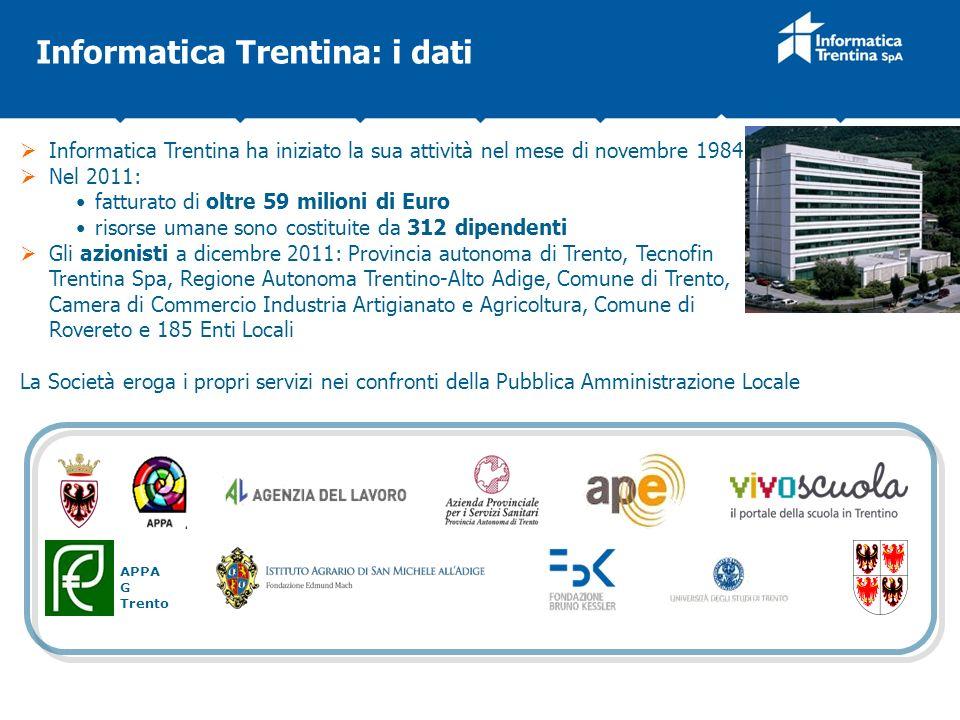 Informatica Trentina ha iniziato la sua attività nel mese di novembre 1984 Nel 2011: fatturato di oltre 59 milioni di Euro risorse umane sono costitui