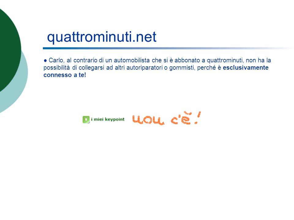 quattrominuti.net Carlo, al contrario di un automobilista che si è abbonato a quattrominuti, non ha la possibilità di collegarsi ad altri autoriparatori o gommisti, perché è esclusivamente connesso a te!