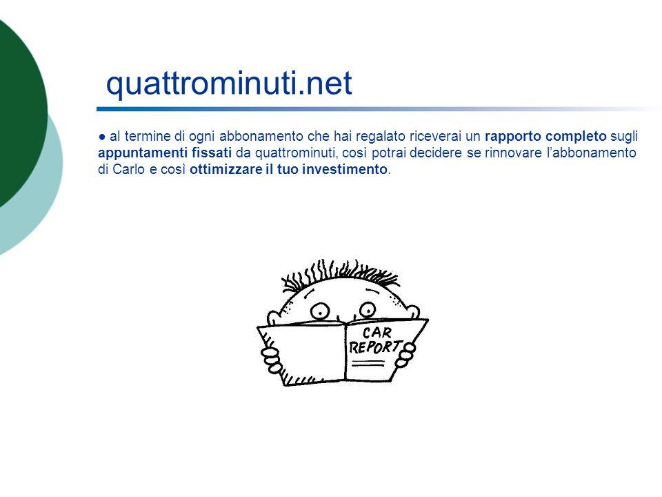 quattrominuti.net al termine di ogni abbonamento che hai regalato riceverai un rapporto completo sugli appuntamenti fissati da quattrominuti, così pot
