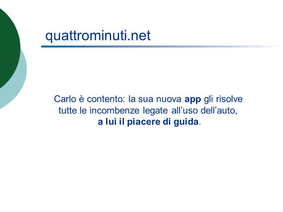 quattrominuti.net Carlo è contento: la sua nuova app gli risolve tutte le incombenze legate alluso dellauto, a lui il piacere di guida.