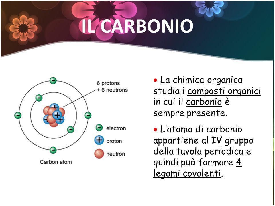 IL CARBONIO La chimica organica studia i composti organici in cui il carbonio è sempre presente. Latomo di carbonio appartiene al IV gruppo della tavo