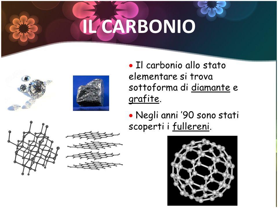 IL CARBONIO Il carbonio allo stato elementare si trova sottoforma di diamante e grafite. Negli anni 90 sono stati scoperti i fullereni.
