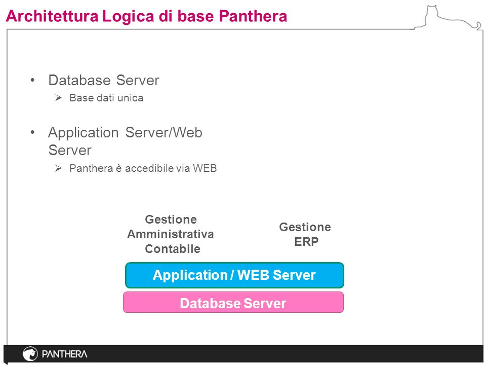 Architettura Logica di base Panthera Database Server Gestione Amministrativa Contabile Application / WEB Server Gestione ERP Database Server Base dati unica Application Server/Web Server Panthera è accedibile via WEB