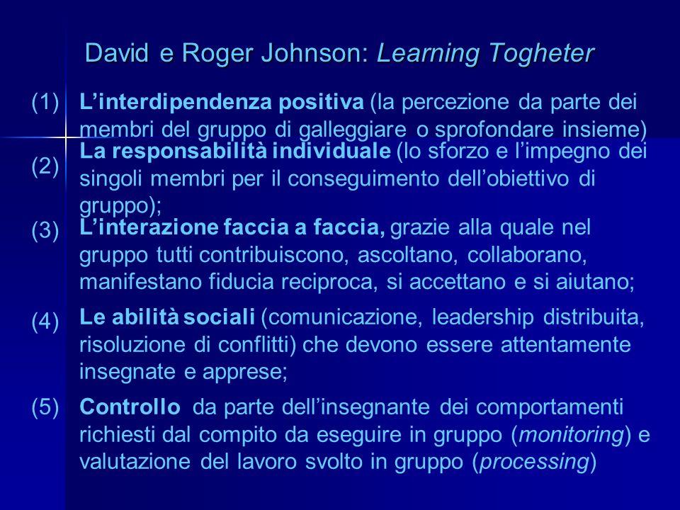David e Roger Johnson: Learning Togheter Linterdipendenza positiva (la percezione da parte dei membri del gruppo di galleggiare o sprofondare insieme)