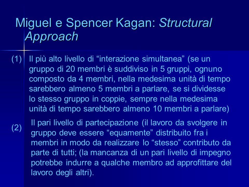 Miguel e Spencer Kagan: Structural Approach Il più alto livello di interazione simultanea (se un gruppo di 20 membri è suddiviso in 5 gruppi, ognuno c