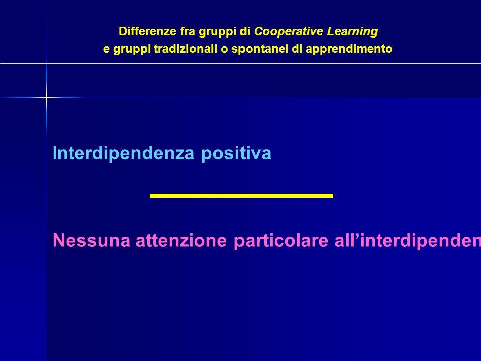 Differenze fra gruppi di Cooperative Learning e gruppi tradizionali o spontanei di apprendimento Interdipendenza positiva Nessuna attenzione particola