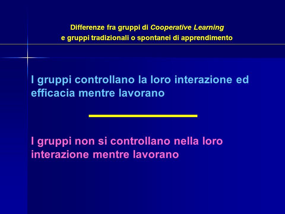 I gruppi controllano la loro interazione ed efficacia mentre lavorano I gruppi non si controllano nella loro interazione mentre lavorano Differenze fr