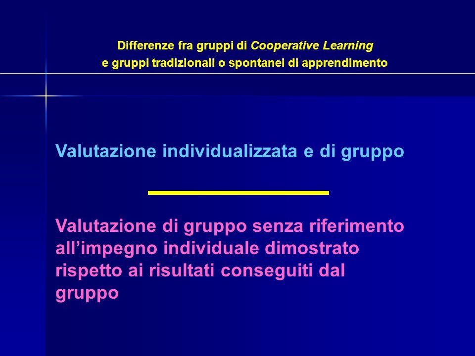 Valutazione individualizzata e di gruppo Valutazione di gruppo senza riferimento allimpegno individuale dimostrato rispetto ai risultati conseguiti da