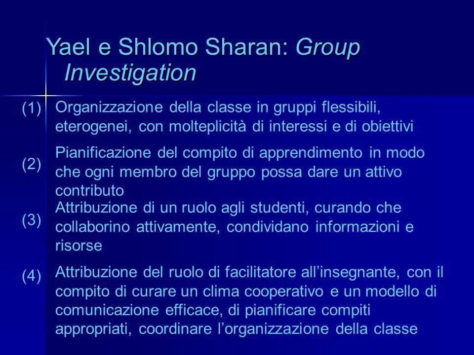 Yael e Shlomo Sharan: Group Investigation Organizzazione della classe in gruppi flessibili, eterogenei, con molteplicità di interessi e di obiettivi (