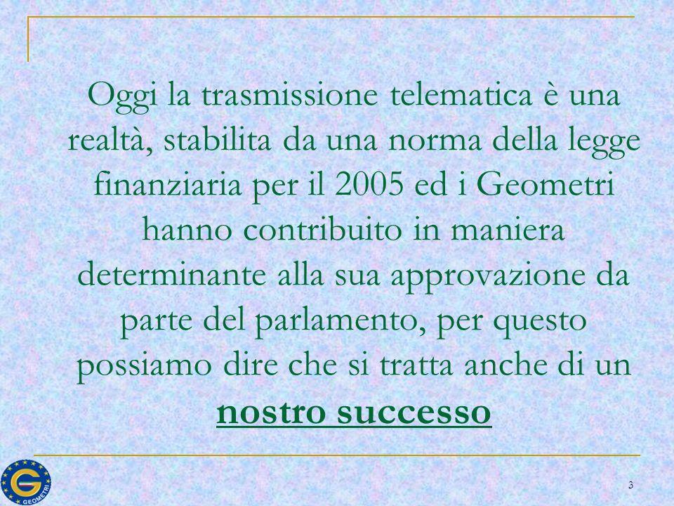 3 Oggi la trasmissione telematica è una realtà, stabilita da una norma della legge finanziaria per il 2005 ed i Geometri hanno contribuito in maniera determinante alla sua approvazione da parte del parlamento, per questo possiamo dire che si tratta anche di un nostro successo