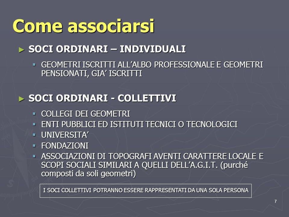 7 Come associarsi SOCI ORDINARI – INDIVIDUALI SOCI ORDINARI – INDIVIDUALI GEOMETRI ISCRITTI ALLALBO PROFESSIONALE E GEOMETRI PENSIONATI, GIA ISCRITTI GEOMETRI ISCRITTI ALLALBO PROFESSIONALE E GEOMETRI PENSIONATI, GIA ISCRITTI SOCI ORDINARI - COLLETTIVI SOCI ORDINARI - COLLETTIVI COLLEGI DEI GEOMETRI COLLEGI DEI GEOMETRI ENTI PUBBLICI ED ISTITUTI TECNICI O TECNOLOGICI ENTI PUBBLICI ED ISTITUTI TECNICI O TECNOLOGICI UNIVERSITA UNIVERSITA FONDAZIONI FONDAZIONI ASSOCIAZIONI DI TOPOGRAFI AVENTI CARATTERE LOCALE E SCOPI SOCIALI SIMILARI A QUELLI DELLA.G.I.T.