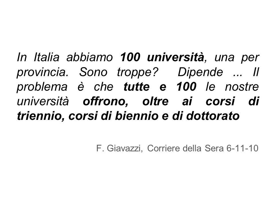 In Italia abbiamo 100 università, una per provincia.