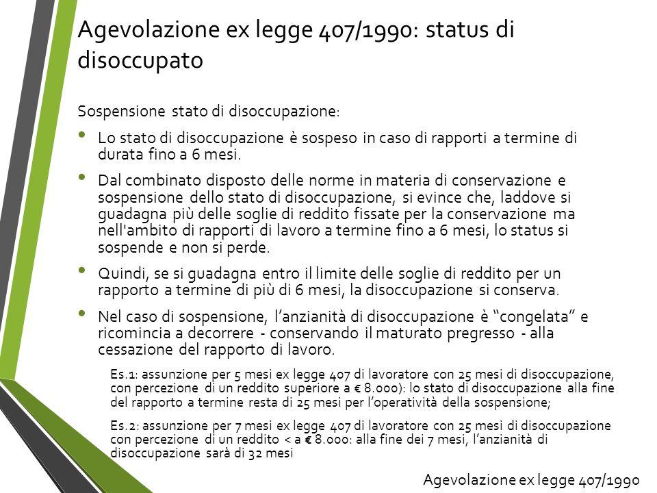 Agevolazione ex legge 407/1990: status di disoccupato Sospensione stato di disoccupazione: Lo stato di disoccupazione è sospeso in caso di rapporti a