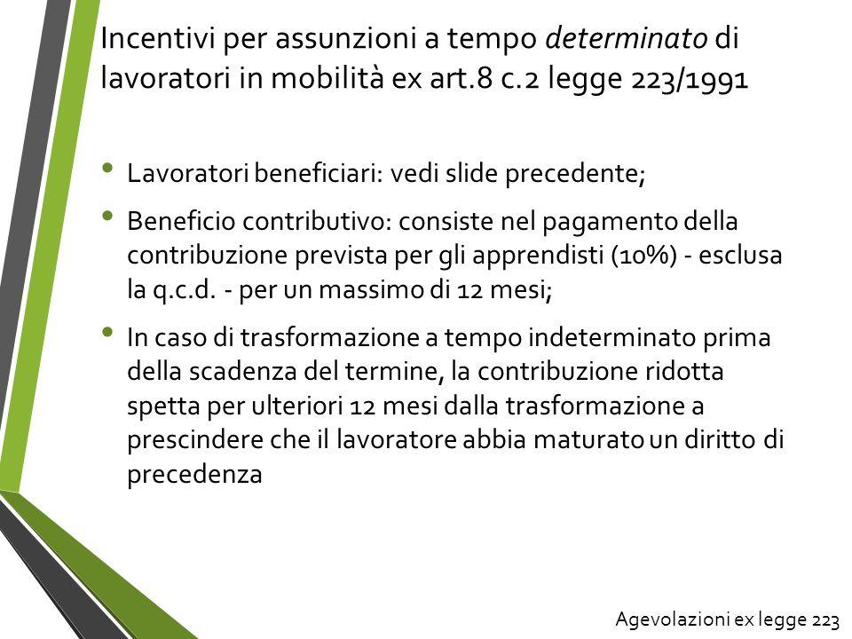 Incentivi per assunzioni a tempo determinato di lavoratori in mobilità ex art.8 c.2 legge 223/1991 Lavoratori beneficiari: vedi slide precedente; Bene