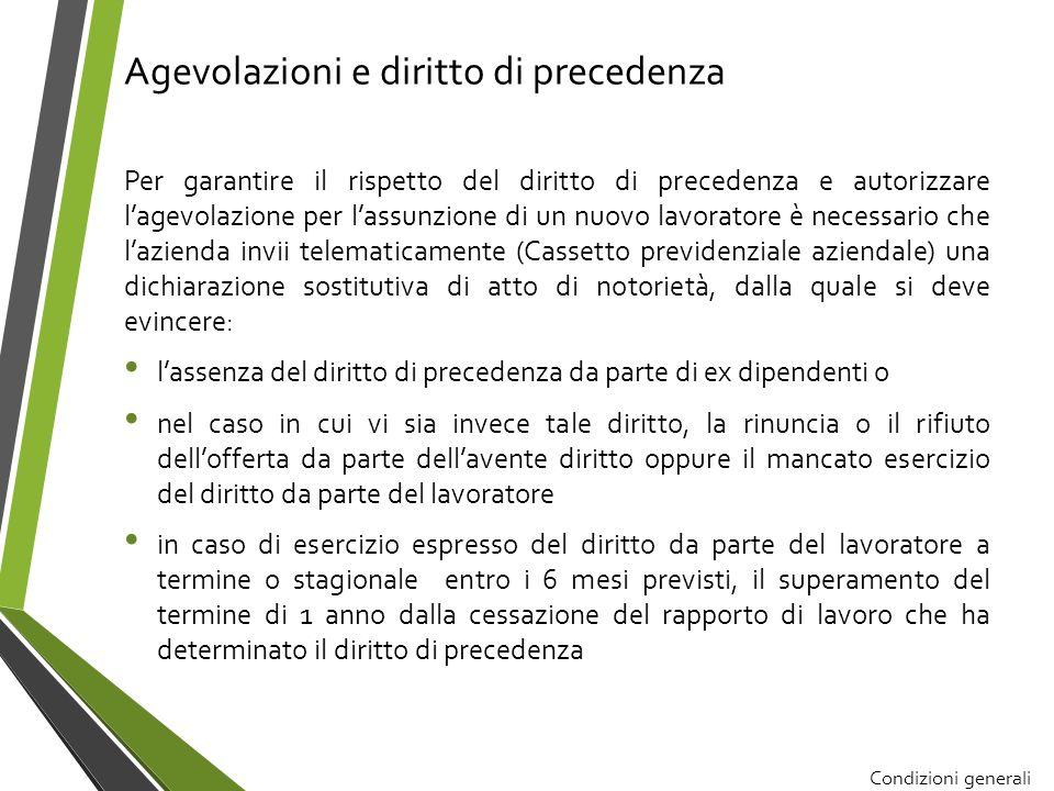 Condizioni generali per poter fruire le agevolazioni contributive Esclusione benefici in caso di assunzioni effettuate in violazione di altri obblighi di legge