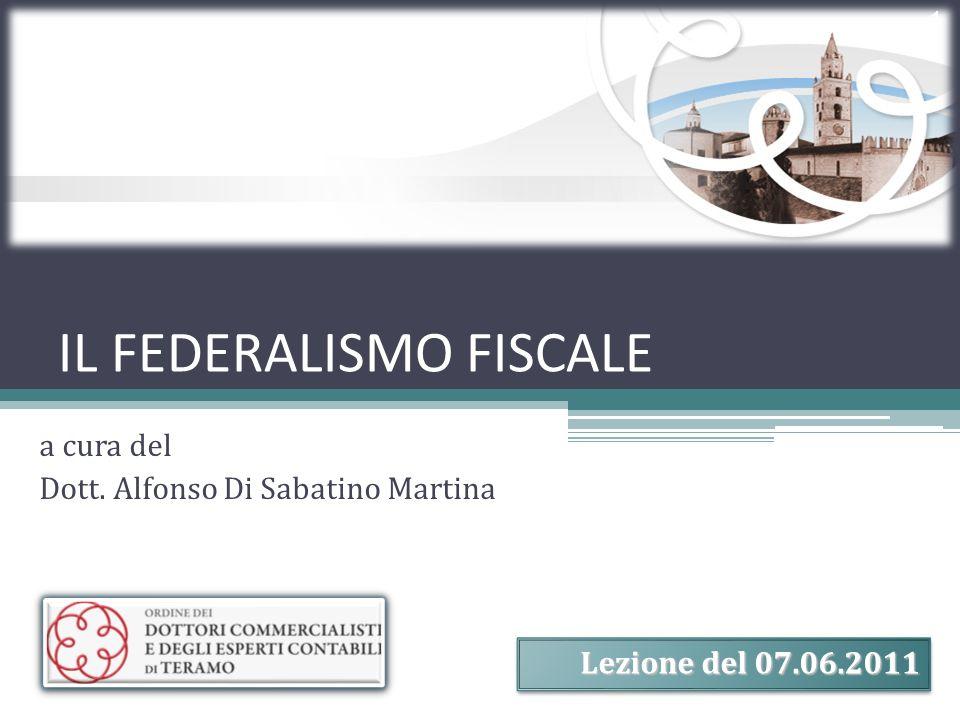 IL FEDERALISMO FISCALE a cura del Dott. Alfonso Di Sabatino Martina 1 Lezione del 07.06.2011