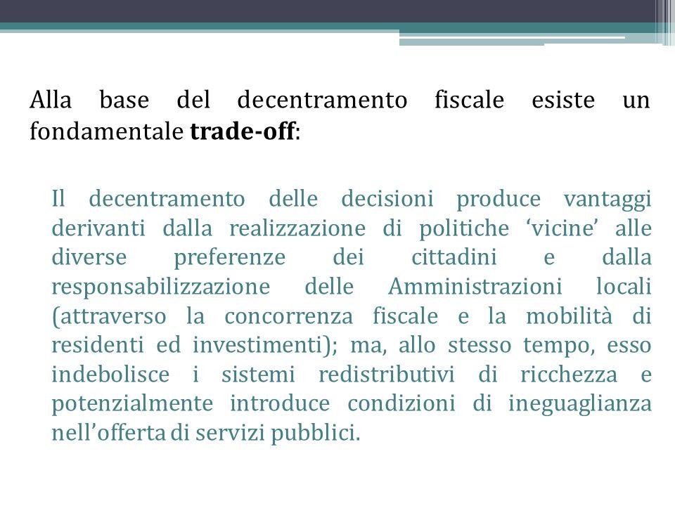 Alla base del decentramento fiscale esiste un fondamentale trade-off: Il decentramento delle decisioni produce vantaggi derivanti dalla realizzazione