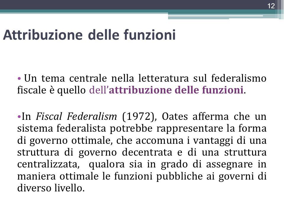 Attribuzione delle funzioni Un tema centrale nella letteratura sul federalismo fiscale è quello dellattribuzione delle funzioni. In Fiscal Federalism
