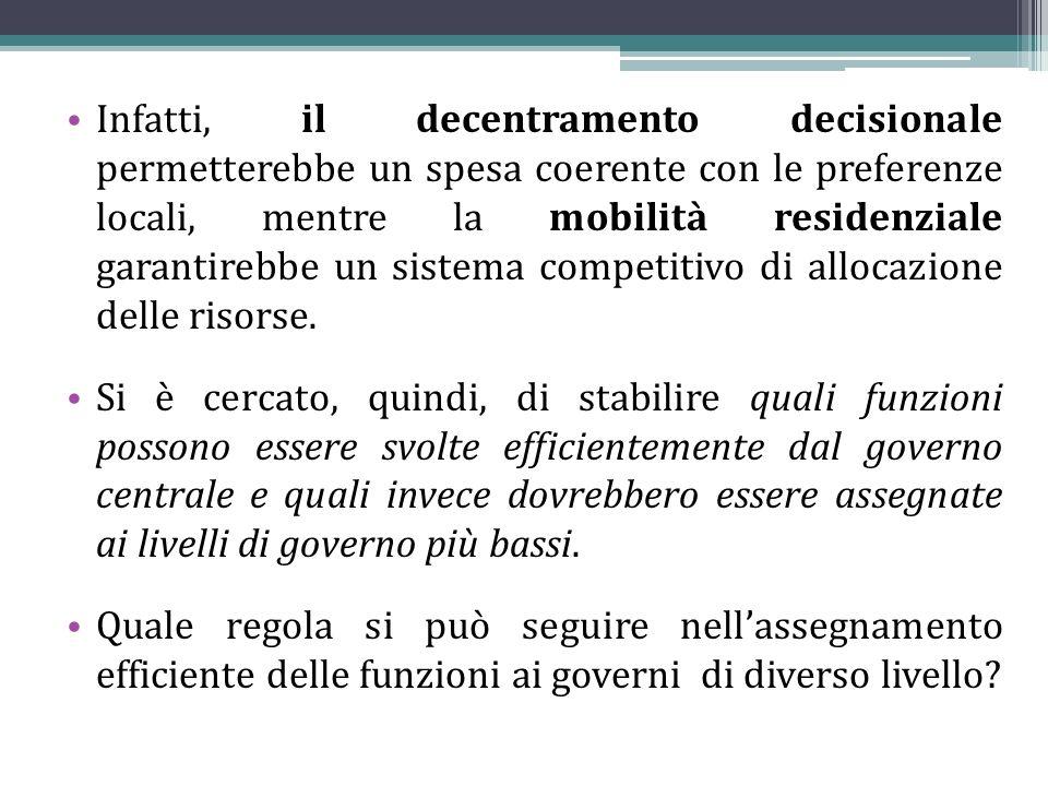 Infatti, il decentramento decisionale permetterebbe un spesa coerente con le preferenze locali, mentre la mobilità residenziale garantirebbe un sistem