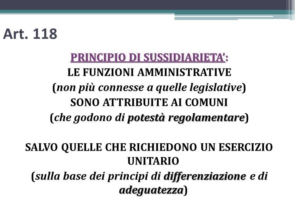 Art. 118 PRINCIPIO DI SUSSIDIARIETA: LE FUNZIONI AMMINISTRATIVE (non più connesse a quelle legislative) SONO ATTRIBUITE AI COMUNI potestà regolamentar