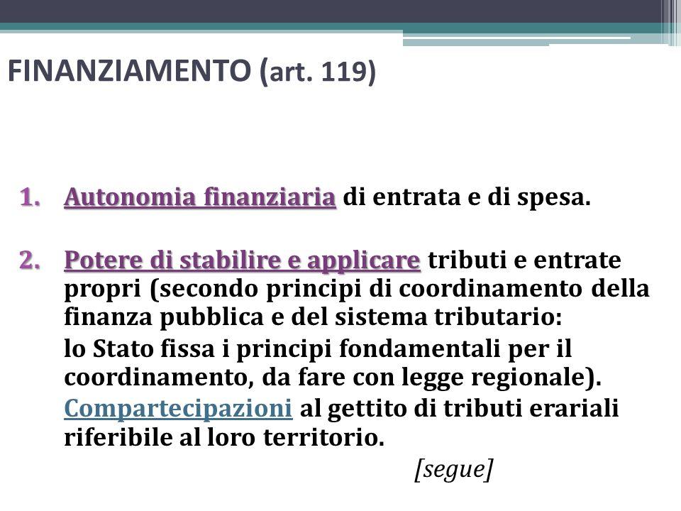 FINANZIAMENTO ( art. 119) 1.Autonomia finanziaria 1.Autonomia finanziaria di entrata e di spesa. 2.Potere di stabilire e applicare 2.Potere di stabili