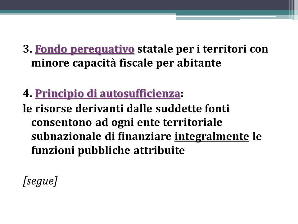 Fondo perequativo 3. Fondo perequativo statale per i territori con minore capacità fiscale per abitante Principio di autosufficienza 4. Principio di a