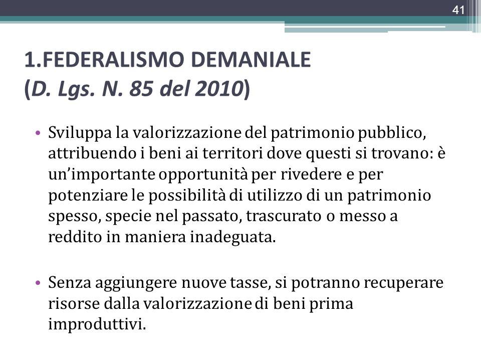 1.FEDERALISMO DEMANIALE (D. Lgs. N. 85 del 2010) Sviluppa la valorizzazione del patrimonio pubblico, attribuendo i beni ai territori dove questi si tr