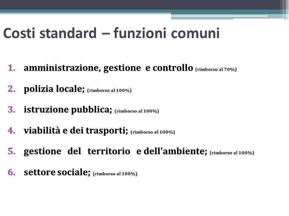 Costi standard – funzioni comuni 1.amministrazione, gestione e controllo (rimborso al 70%) 2.polizia locale; (rimborso al 100%) 3.istruzione pubblica;
