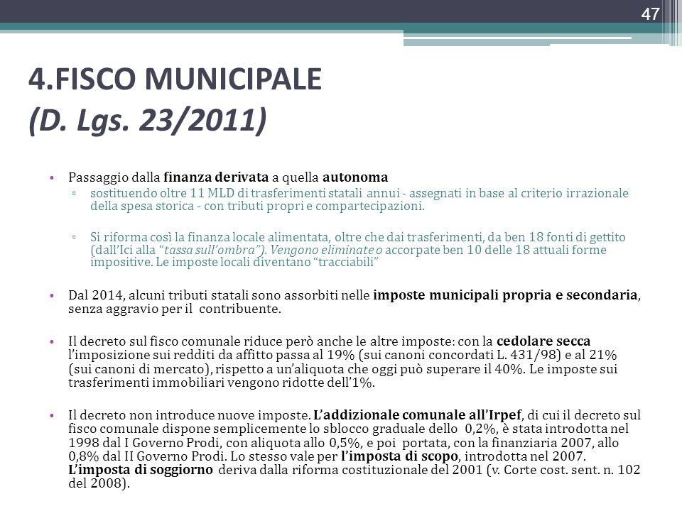 4.FISCO MUNICIPALE (D. Lgs. 23/2011) Passaggio dalla finanza derivata a quella autonoma sostituendo oltre 11 MLD di trasferimenti statali annui - asse