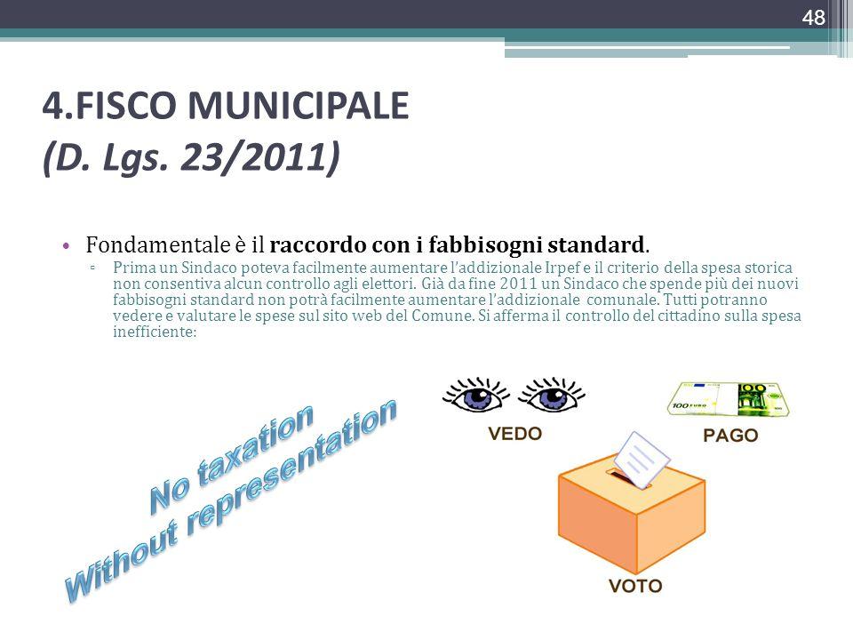 4.FISCO MUNICIPALE (D. Lgs. 23/2011) Fondamentale è il raccordo con i fabbisogni standard. Prima un Sindaco poteva facilmente aumentare laddizionale I