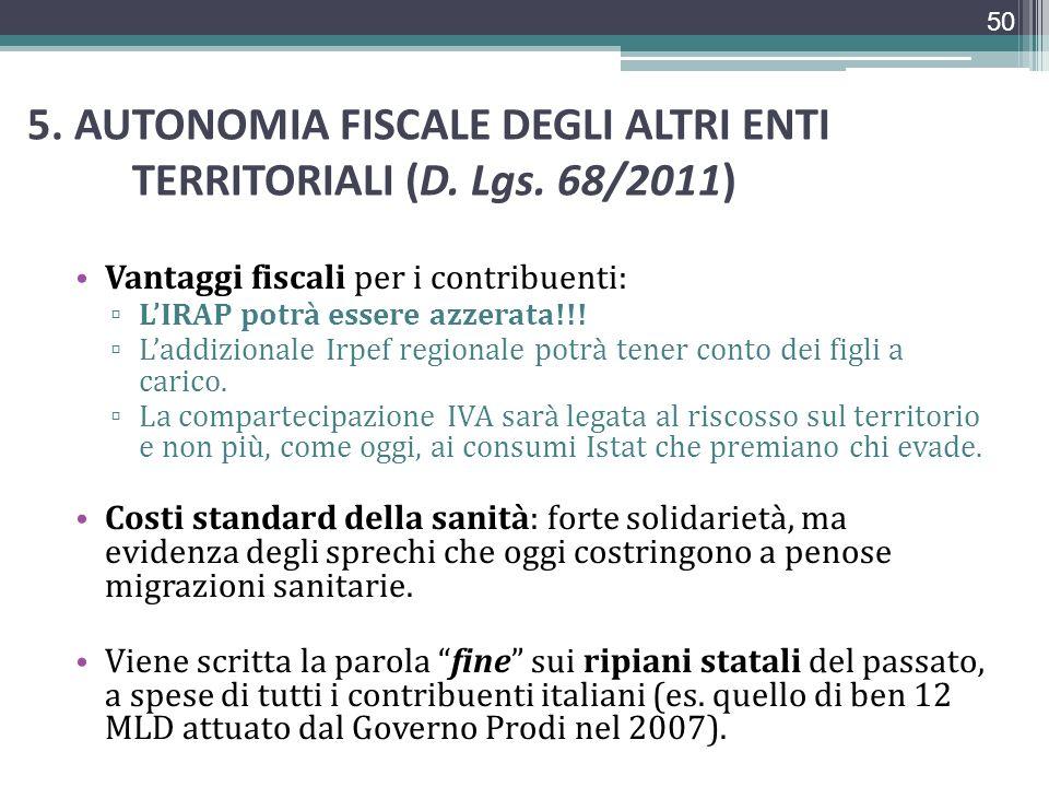 5. AUTONOMIA FISCALE DEGLI ALTRI ENTI TERRITORIALI (D. Lgs. 68/2011) Vantaggi fiscali per i contribuenti: LIRAP potrà essere azzerata!!! Laddizionale