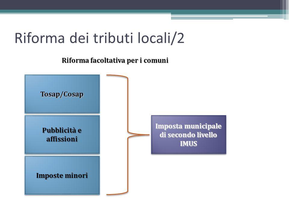Riforma dei tributi locali/2 Tosap/CosapTosap/Cosap Pubblicità e affissioni Imposte minori Imposta municipale di secondo livello IMUS IMUS Riforma fac