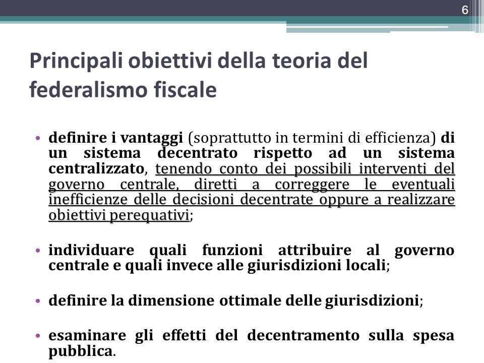 Principali obiettivi della teoria del federalismo fiscale tenendo conto dei possibili interventi del governo centrale, diretti a correggere le eventua