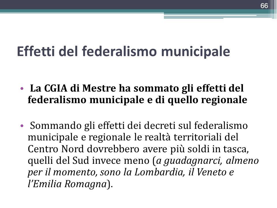 Effetti del federalismo municipale La CGIA di Mestre ha sommato gli effetti del federalismo municipale e di quello regionale Sommando gli effetti dei